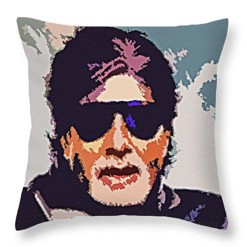 Amitabh Bachchan Throw Pillow featuring the painting Amitabh Bachchan The Superstar by Piety Dsilva