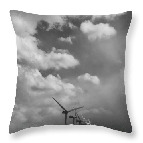 Windmills Throw Pillow featuring the photograph Amongst The Clouds Bw by William Dey