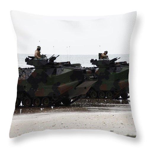 Men Throw Pillow featuring the photograph Amphibious Assault Vehicles Land Ashore by Stocktrek Images