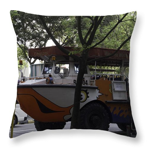 Asia Throw Pillow featuring the photograph Amphibious Vehicle Used For Ducktour In Singapore by Ashish Agarwal