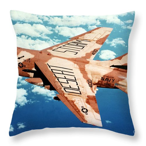 Horizontal Throw Pillow featuring the photograph An A-7 Corsair II In Flight by Stocktrek Images