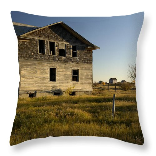 No People Throw Pillow featuring the photograph An Abandoned Hospital Stands Alone by Pete Ryan