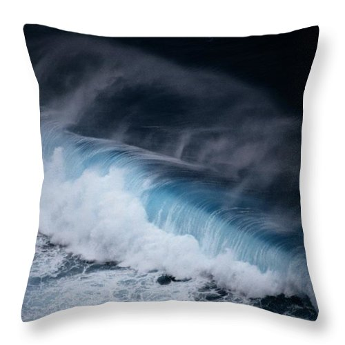 Aerial Views Throw Pillow featuring the photograph An Aerial View Captures A Large Wave by Paul Chesley