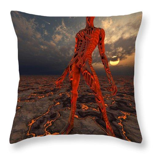 Vertical Throw Pillow featuring the digital art An Alien World Where Its Native by Mark Stevenson