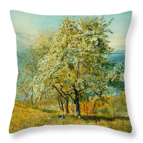 An Alpine Lake Throw Pillow featuring the painting An Alpine Lake by John William Inchbold