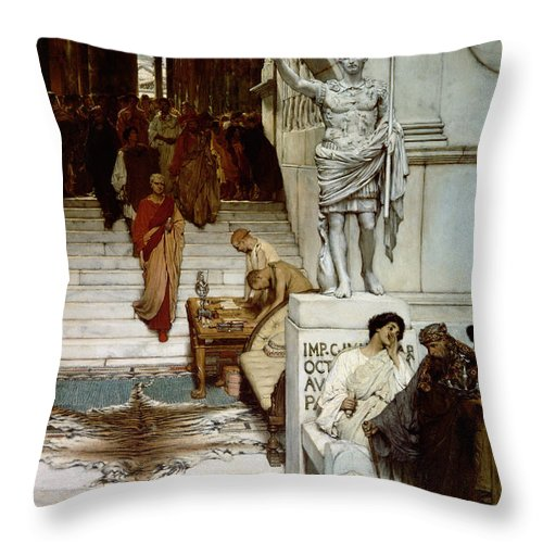 Audience Throw Pillow featuring the painting An Audience At Agrippa's by Sir Lawrence Alma-Tadema