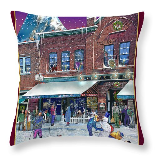 Prints Throw Pillow featuring the photograph An Early Snow For Cafe Monte Alto by Nancy Griswold