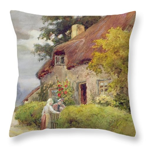 Thatched Cottage Throw Pillow featuring the painting An Evening Gossip by Joshua Fisher