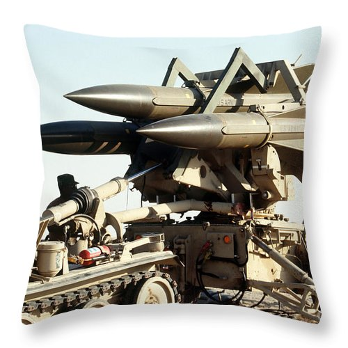 Horizontal Throw Pillow featuring the photograph An Mim-23b Hawk Surface-to-air Missile by Stocktrek Images
