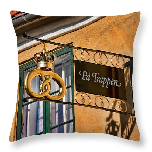Altstadt Throw Pillow featuring the photograph An Old Bakery In Dragoer by Joerg Lingnau
