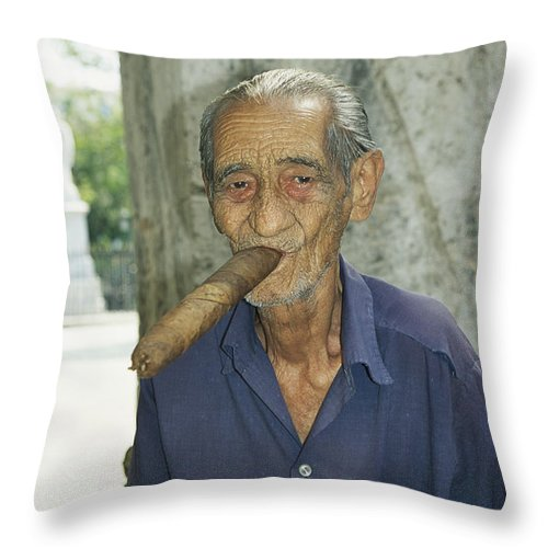 Model Released Photography Throw Pillow featuring the photograph An Old Man Smokes An Over-sized Cigar by David Evans