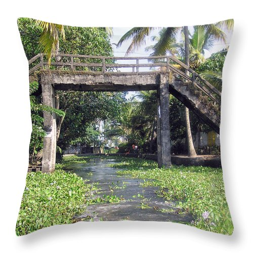 Alleppey Throw Pillow featuring the photograph An Old Stone Bridge Over A Canal In Alleppey by Ashish Agarwal