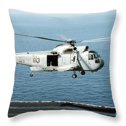 Horizontal Throw Pillow featuring the photograph An Sh-3h Sea King Helicopter Prepares by Stocktrek Images