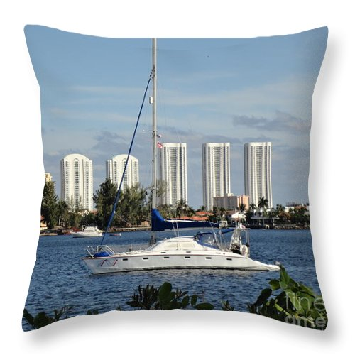 Sailboat Throw Pillow featuring the photograph Anchored On Maule Lake by Maria Bonnier-Perez