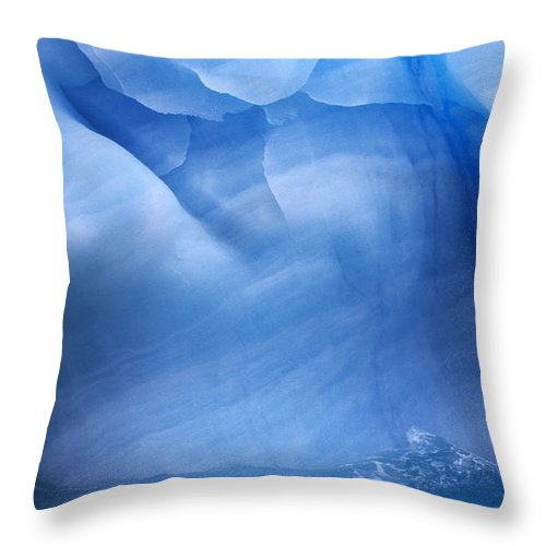 Fn Throw Pillow featuring the photograph Ancient Blue Iceberg, Detail, Antarctica by Flip De Nooyer