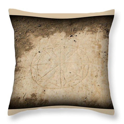 Ephesus Throw Pillow featuring the photograph Ancient Christian Symbol by Carla Parris