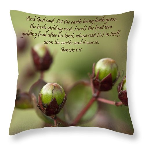 And God Said Throw Pillow featuring the photograph And God Said Let The Earth Bring Forth by Kathy Clark