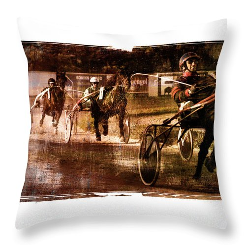 Horse Throw Pillow featuring the photograph and the winner is - A vintage processed Menorca trotting race by Pedro Cardona Llambias