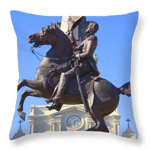 Landmarks Throw Pillow featuring the photograph Andrew Jackson Statue by Mike McGlothlen