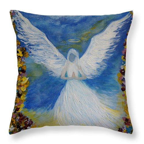 Angel Throw Pillow featuring the painting Angel Among Us by Leslie Allen