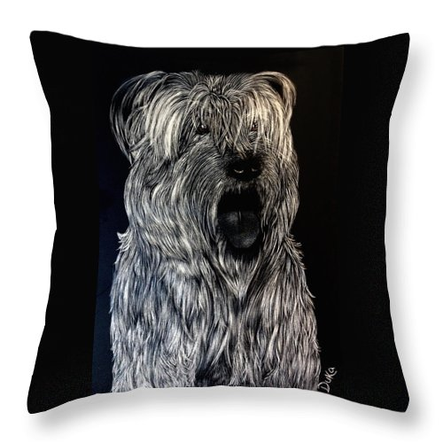 Scratchboard Throw Pillow featuring the mixed media Angel by Duka Lourdes Aguirre
