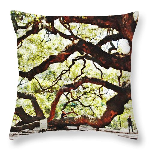 Tree Throw Pillow featuring the photograph Angel Oak Tree 2 by Donna Bentley