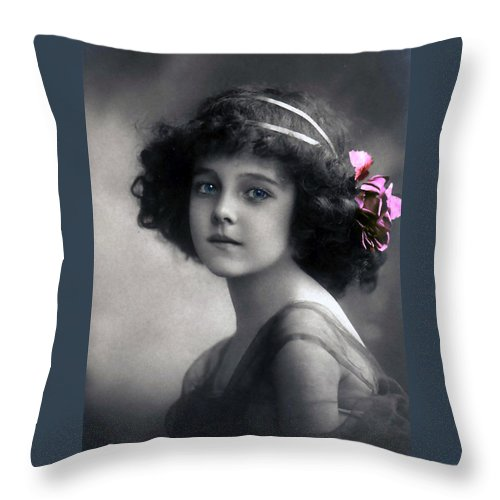 Photograph Vintage Girl Female Angel Beauty Little Child Nice Face Portrait Earth Black White Color Colored Blue Eyes Throw Pillow featuring the photograph Angel On Earth by Steve K