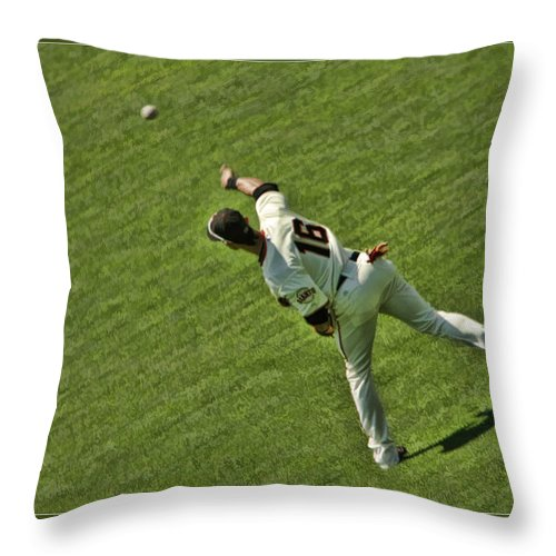 Angel Pagan Throw Pillow featuring the photograph Angel Pagan Giants by Blake Richards