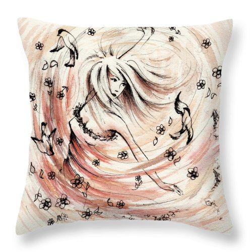 Figure Throw Pillow featuring the drawing Angels Dance by William Russell Nowicki