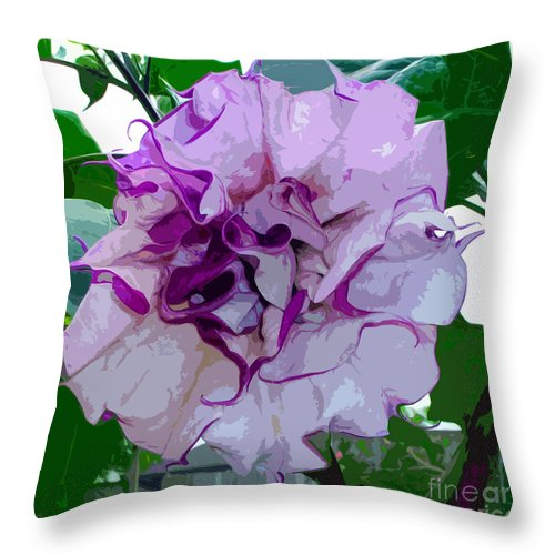Purple Throw Pillow featuring the painting Angel's Trumpet by Allan Hughes