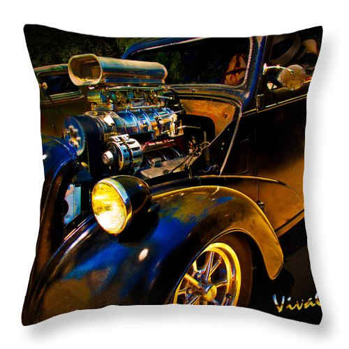 Anglia Throw Pillow featuring the photograph Anglia Dragster And A Duce Staged For A Grudge Run by Chas Sinklier