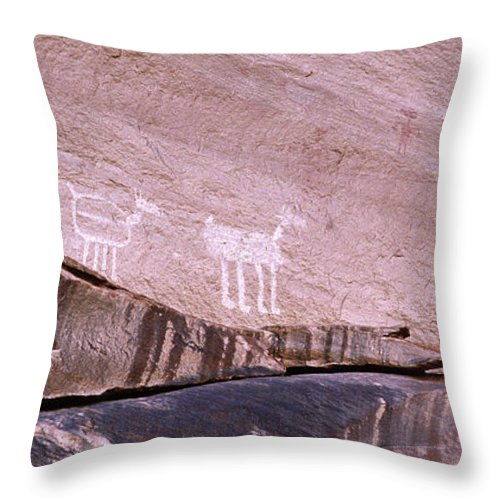 Antelope House Ruin Throw Pillow featuring the photograph Antelope House Petroglyphs by Bob Christopher