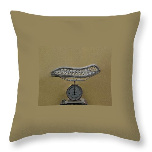 Antique Baby Scale Throw Pillow featuring the digital art Antique Baby Scale by Ernie Echols