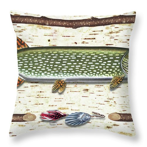 Pike Throw Pillow featuring the painting Antique Birch Pike And Lure by JQ Licensing