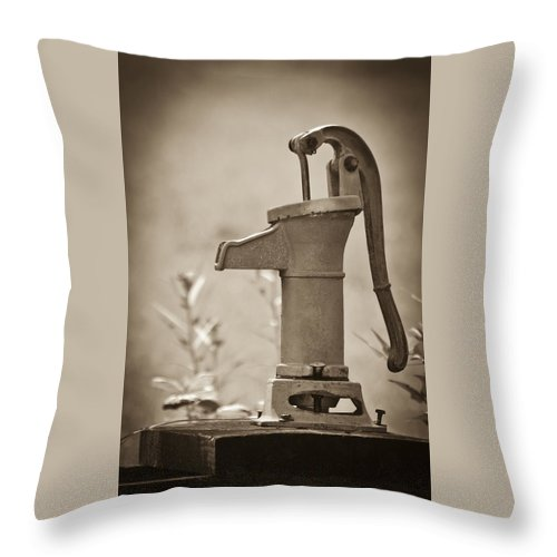 Pump Throw Pillow featuring the photograph Antique Hand Water Pump by Carolyn Marshall