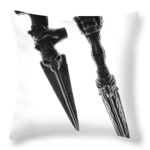 Antique Throw Pillow featuring the photograph Antique Indian Fighting Dagger by Floyd Menezes