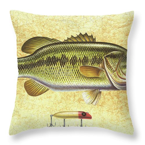Bass Throw Pillow featuring the painting Antique Lure And Bass by JQ Licensing