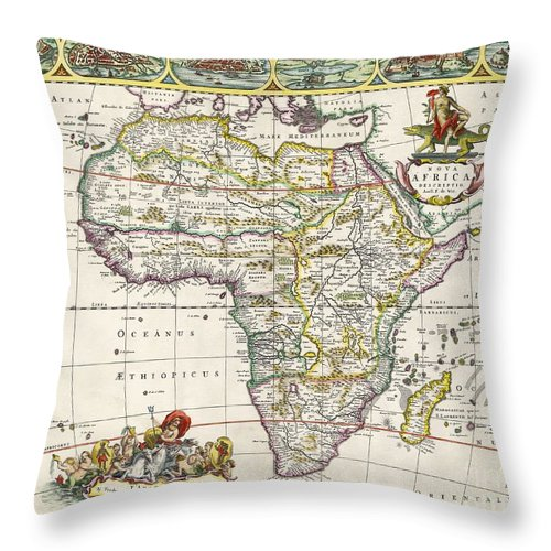 Map Of Africa Throw Pillow featuring the drawing Antique Map Of Africa by Dutch School