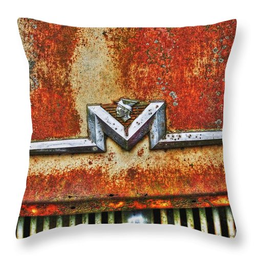 Old Throw Pillow featuring the photograph Antique Mercury Auto Logo by Dan Stone