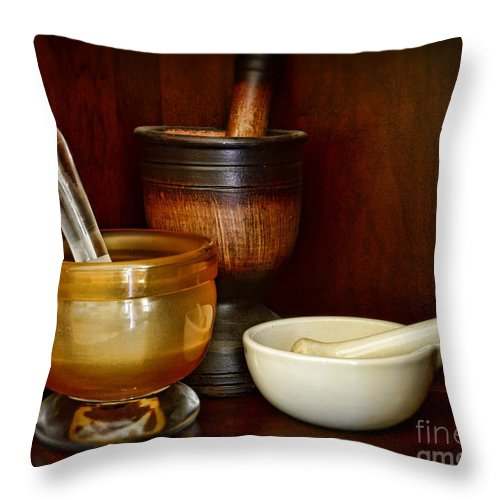 Paul Ward Throw Pillow featuring the photograph Apothecary - Mortars And Pestles by Paul Ward