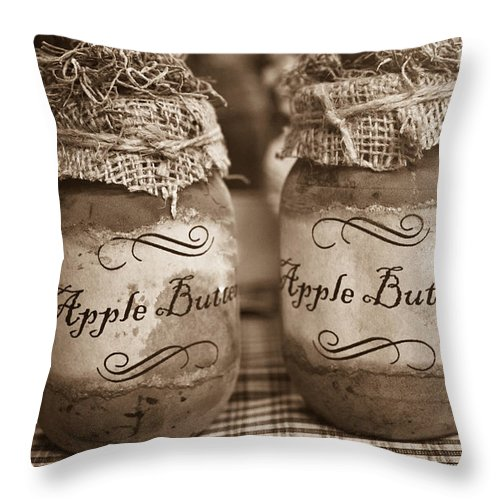 Apple Throw Pillow featuring the photograph Apple Butter in Sepia by Douglas Barnett
