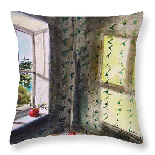 Apples Throw Pillow featuring the painting Apples And Homespun by John Williams