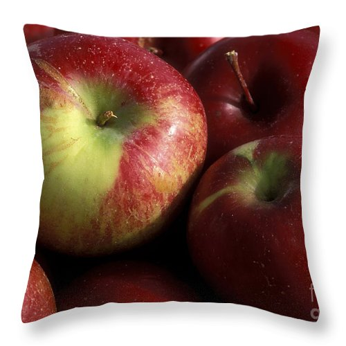 Macro Throw Pillow featuring the photograph Apples For Sale by Sandra Bronstein
