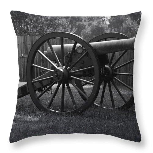 Appomattox Throw Pillow featuring the photograph Appomattox Cannon by Teresa Mucha