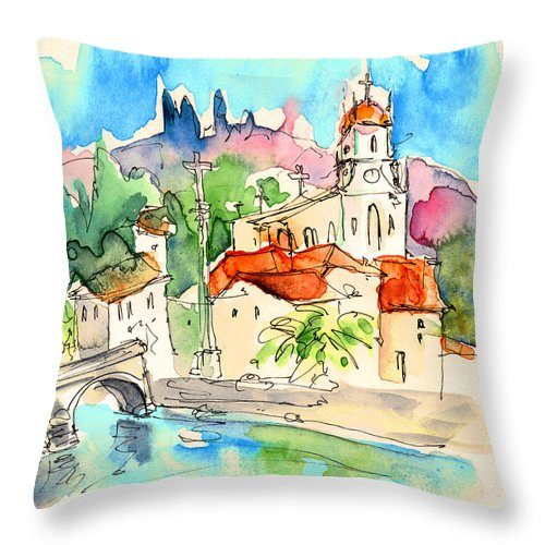 Portugal Throw Pillow featuring the painting Arcos De Valdevez In Portugal 01 by Miki De Goodaboom