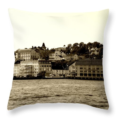 Architecture Throw Pillow featuring the photograph Arendal Cityscape by Nina Fosdick
