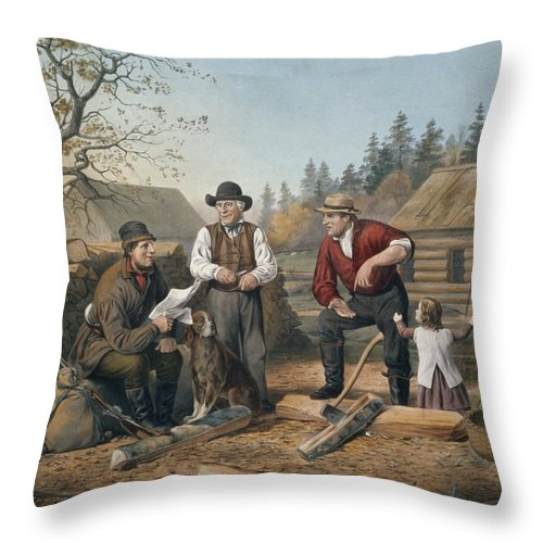 Arguing The Point Throw Pillow featuring the painting Arguing The Point by Currier and Ives
