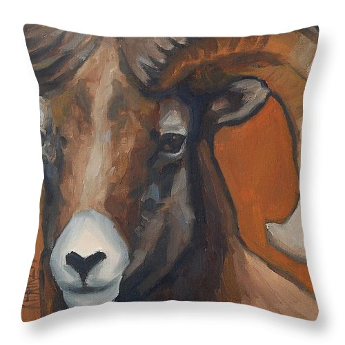 Ram Throw Pillow featuring the painting Aries - Ram Painting by Khairzul MG