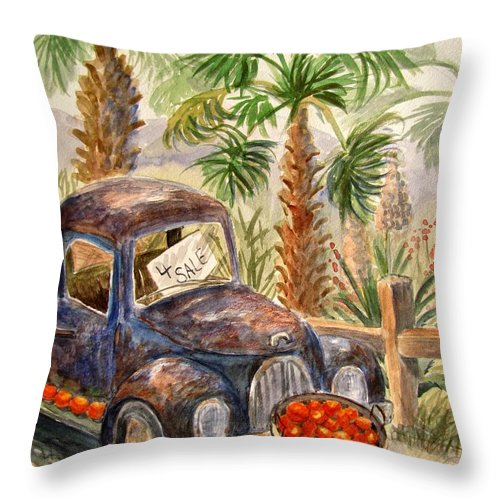 Old Truck Throw Pillow featuring the painting Arizona Sweets by Marilyn Smith