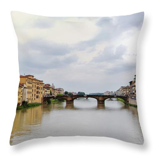 Frienze Throw Pillow featuring the photograph Arno River In Florence Italy by Roger Mullenhour